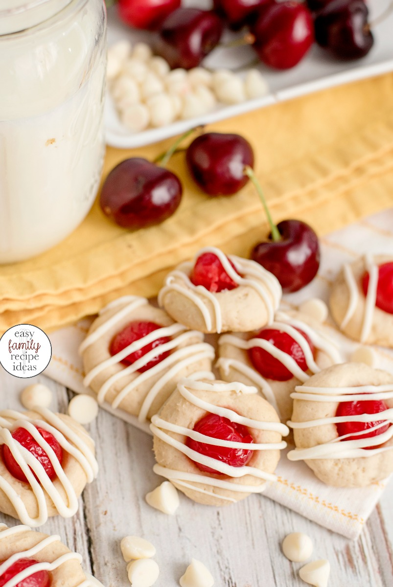 The Best Cherry Thumbprint Cookie Recipe you'll ever taste! Cherry Almond Cookies, Maraschino Cherry Thumbprint Cookies This Thumbprint Cookie Recipe Can easily be changed for any flavor filling! They make perfect Christmas Cookies too!