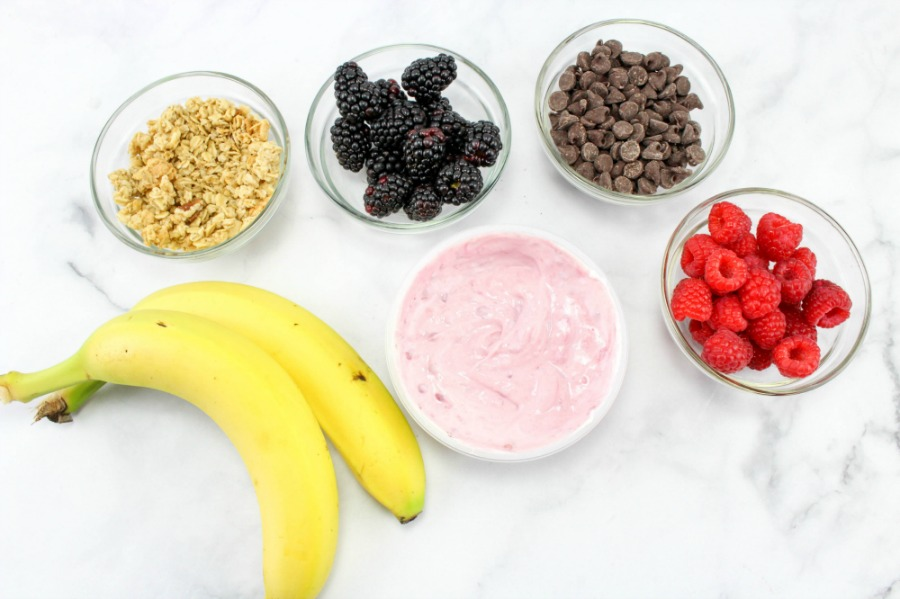 This Healthy Breakfast Banana Split is so delicious and perfect for a healthy breakfast recipe or an afternoon snack. Breakfast Parfait, Yogurt, fruit, and granola make these breakfast banana splits a healthy and fun idea to serve up any time of the year. Breakfast Banana Split Frozen Yogurt