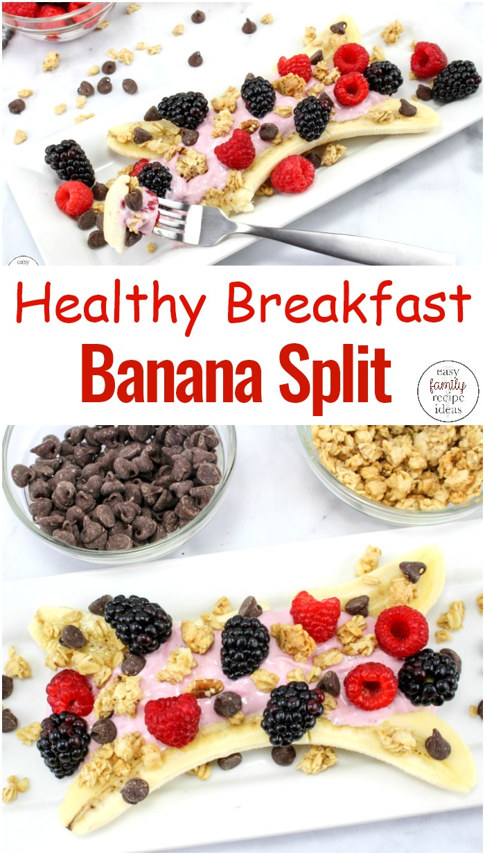 This Healthy Breakfast Banana Split is so delicious and perfect for a healthy breakfast recipe or an afternoon snack. Breakfast Parfait, Yogurt, fruit, and granola make these breakfast banana splits a healthy and fun idea to serve up any time of the year. Breakfast Banana Split Frozen Yogurt,