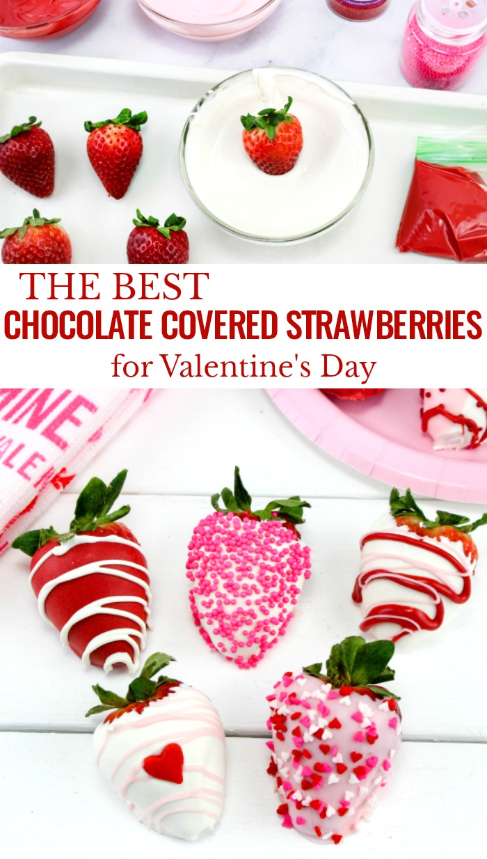 There is nothing better than Valentine's Day Chocolate Covered Strawberries. These sweet treats are easy to make and can be a sexy snack for your sweetheart or a scrumptious dessert for your kids.These Valentine's Day Strawberries are the best! Valentine's Day Recipes