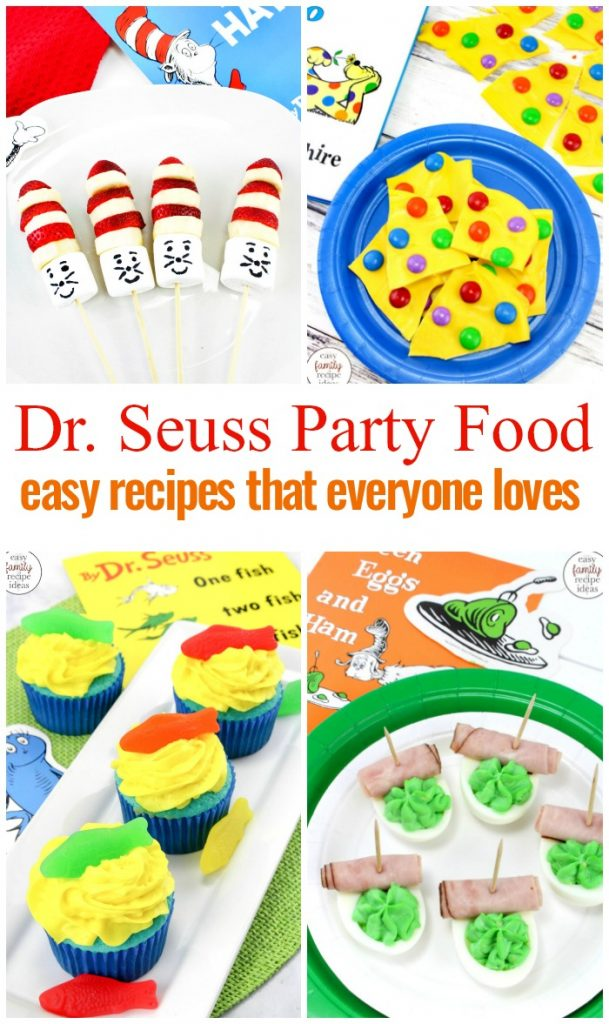 The Best Dr. Seuss food and snack ideas for a Dr. Seuss themed birthday party. Whether you are throwing a Dr Seuss party, looking for snacks for kids, or just love Dr. Seuss these Dr. Seuss Birthday Party Food Ideas are THE BEST. Dr. Seuss Birthday Party Ideas, Dr Seuss Party Food Ideas,