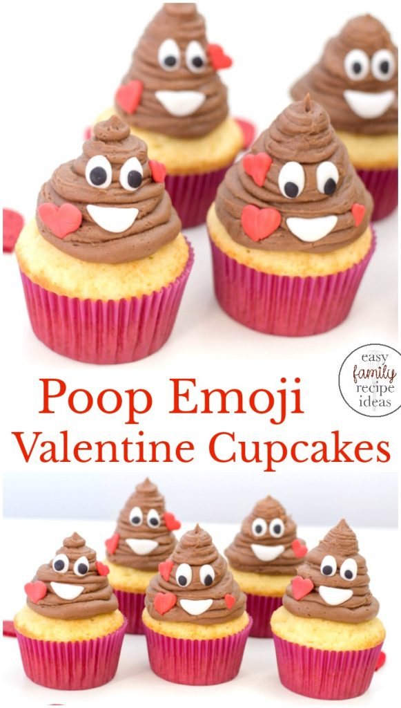 The Best Poop Emoji Valentine Cupcakes, How to Make Poop Emoji Cupcakes for Valentine's Day, You don't have to be a professional cupcake decorator to make these super cute Poop Emoji Cupcakes for Valentine's Day. These easy emoji cupcakes are perfect!