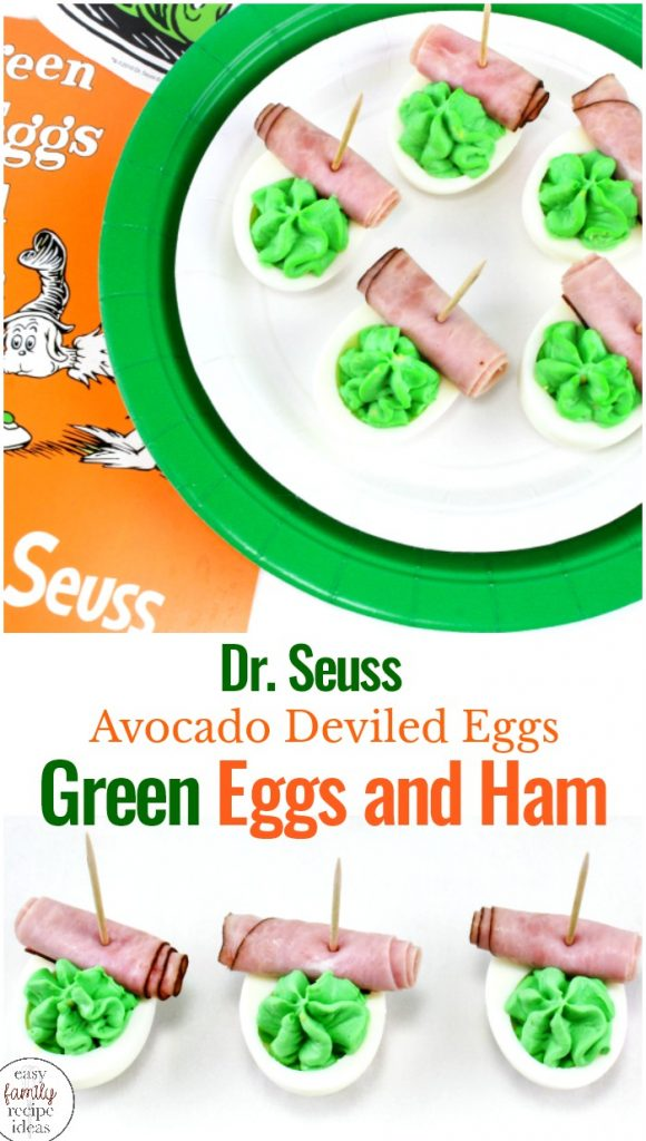 Everyone will eat and enjoy this Green Eggs and Ham Recipe, Avocado Deviled Eggs are a healthy spin on classic deviled eggs pair it with Dr. Seuss Birthday Party Ideas, Dr. Seuss Activities, or any Dr Seuss Party Food. Everyone Loves Green Eggs and Ham Food Ideas