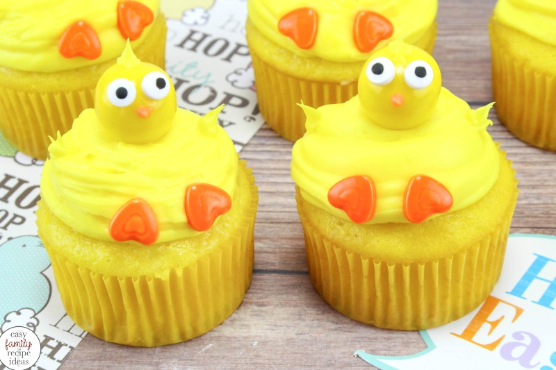 These Baby Chick Cupcakes are the prerfect Spring Dessert idea, Easy Easter Chick Cupcakes that you can make with a boxed cake mix, Easter cupcakes, Spring has to be the best time for cute cupcake ideas and farm animal desserts.