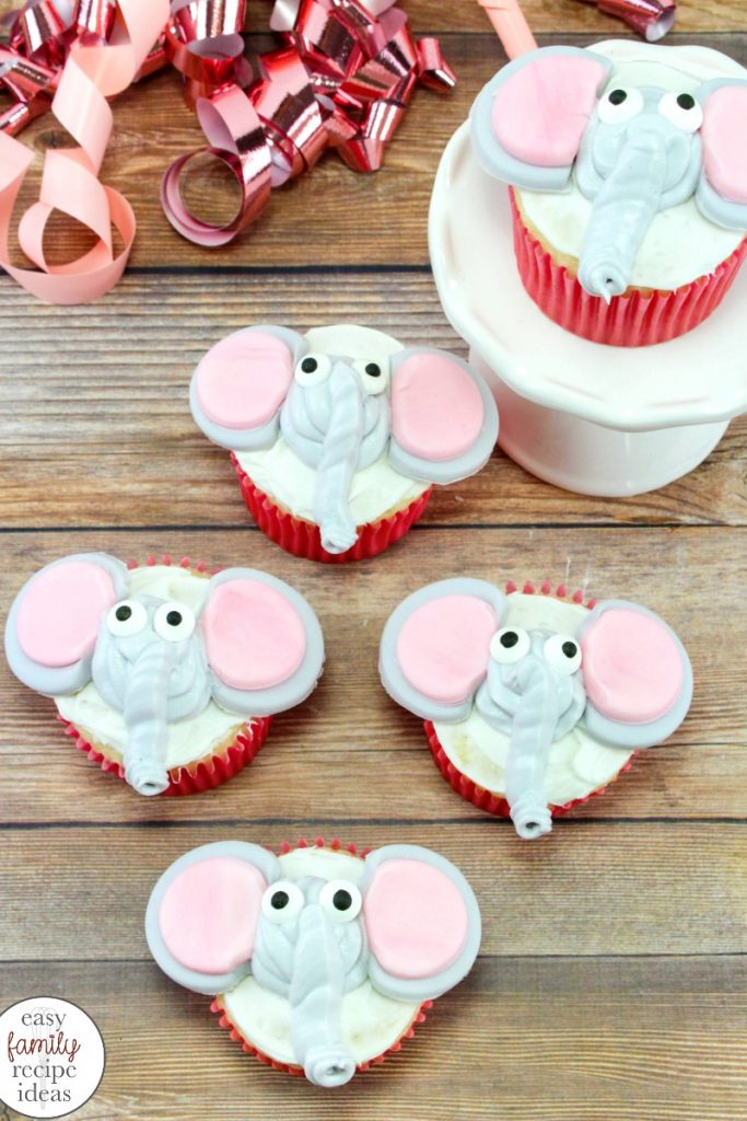 These Dumbo Cupcakes are easy to make and absolutely adorable. Make a batch of these easy Disney Cupcakes for the New Dumbo movie or Circus Birthday Party, Dumbo Circus Cupcakes are Perfect for a baby shower food or kids Dumbo Birthday Party Food Ideas