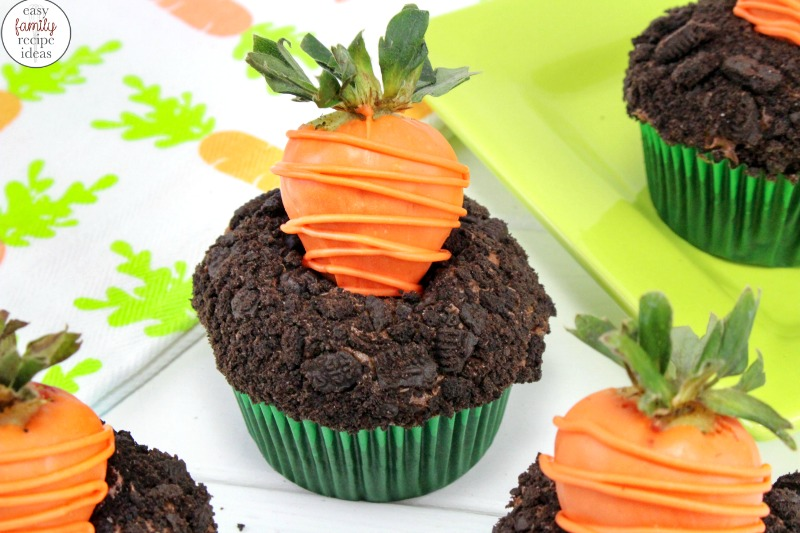 These Easter Chocolate Cupcakes are AMAZING! Carrot Patch Chocolate Cupcakes are perfect for a spring dessert, Not only does this cute carrot patch cupcake look adorable it tastes great too. Easter cupcake ideas