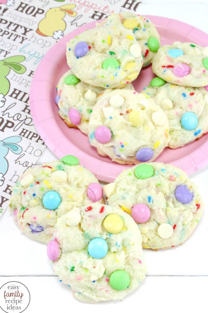 These Spring Funfetti Cake Cookies for Easter are soft and delicious, Funfetti cake mix recipes make the perfect Easter Cookies, Make these easy to make Easter M&M Cookies for a spring brunch or fun spring treat, Easter Funfetti Cake Cookies are The Best!
