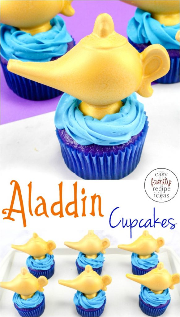 These Easy Aladdin Themed Cupcakes are perfect for anyone that loves Aladdin. If you are planning a fun Arabian nights themed party these Disney Cupcakes are perfect with delicious Aladdin cupcakes genie lamp