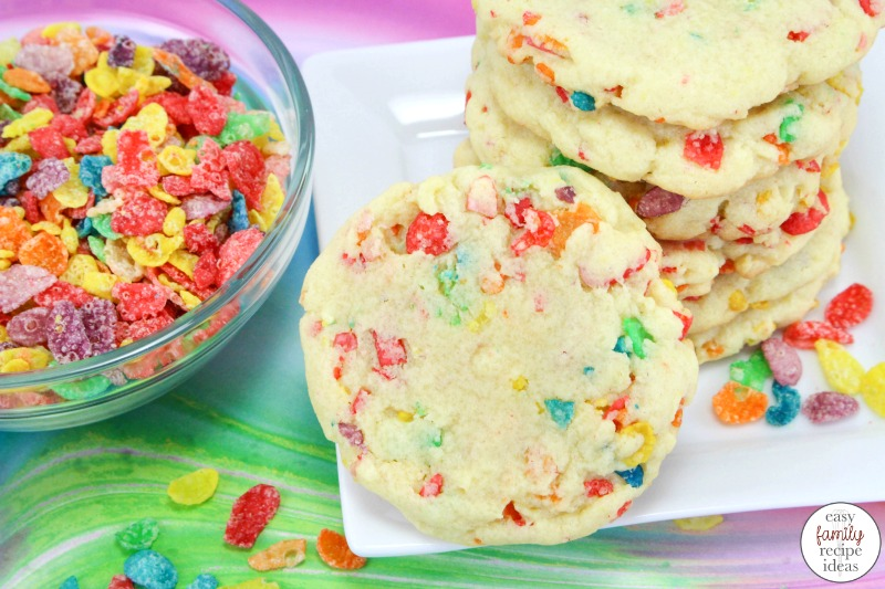 These Fruity Pebbles Cookies are just what every kid wants for a snack. Delicious pudding sugar cookies that are super soft cookies perfect for an afternoon snack or birthday party food. Pudding Cookies that make easy Vanilla Pudding Sugar Cookies