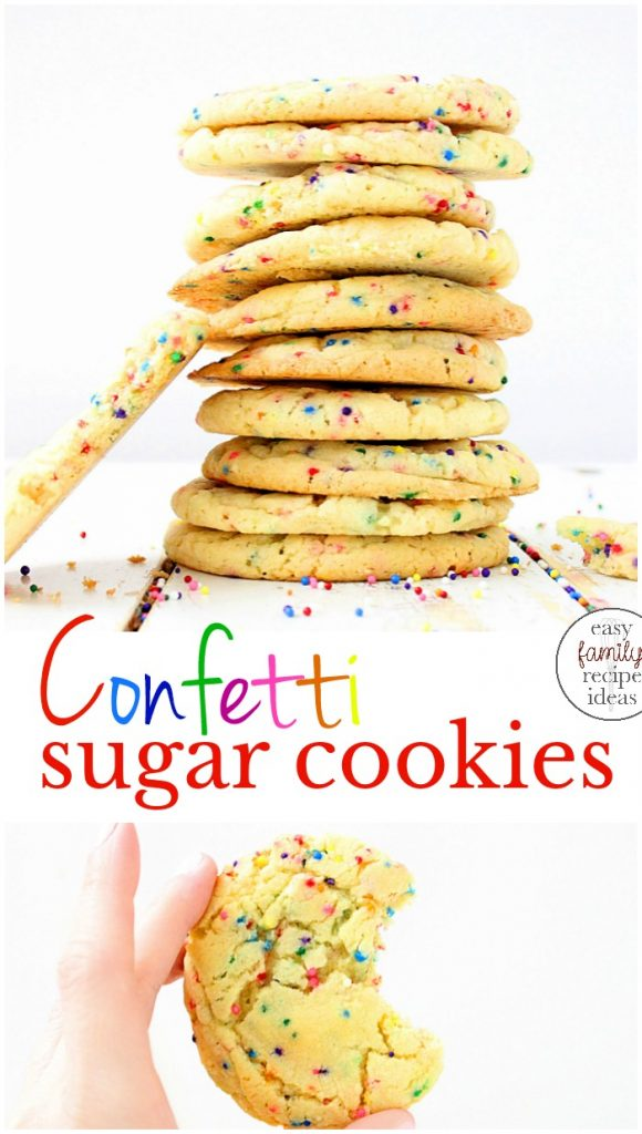 Easy to make soft and chewy Funfetti Sugar Cookies are always a huge hit. Add The Best Sprinkle Cookies Recipe to your next holiday or get together, Funfetti recipes and confetti sugar cookies are delicious, Perfect birthday party food ideas, Soft drop cookies