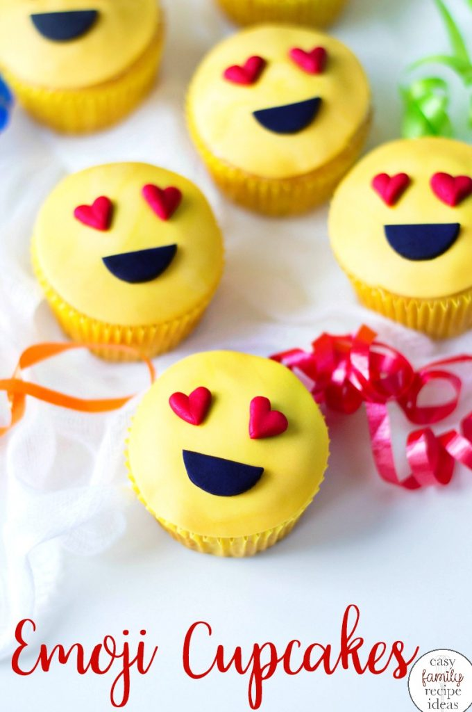 Emoji Cupcake Ideas, These super cute Heart Emoji Cupcakes are sure to bring a smile to your child. Get started with this easy and fun recipe and see How to Make Emoji Cupcakes for fun Birthday Party Food Ideas