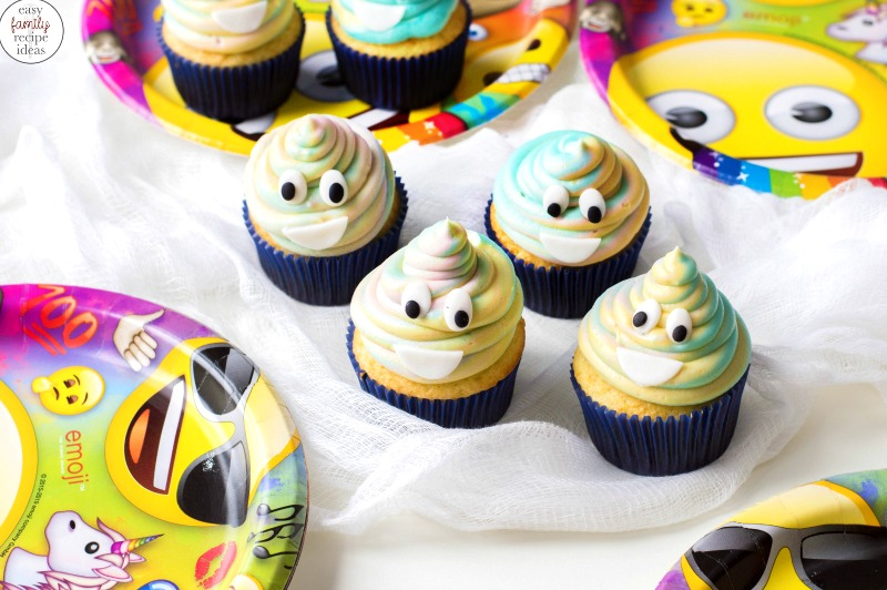 Poop Emoji Cupcakes are so much fun And the kids LOVE to eat them. Serve these tie-dye emoji cupcakes for your child's birthday party and watch how fast they get eaten. Ready to see How to Make Poop Emoji Cupcakes perfect for an Emoji Birthday