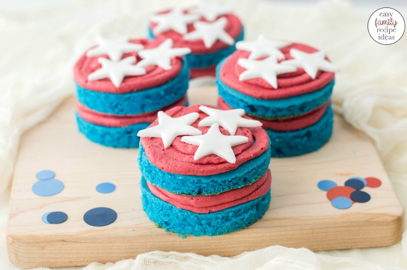 This Patriotic Cake makes the best dessert for your Memorial Day party, 4th of July party, Veteran's Day, or summer party. If you are looking for a super cute patriotic dessert This red, white, and blue Cake recipe is it! Delicious 4th of July cake and 4th of July cake decorating ideas