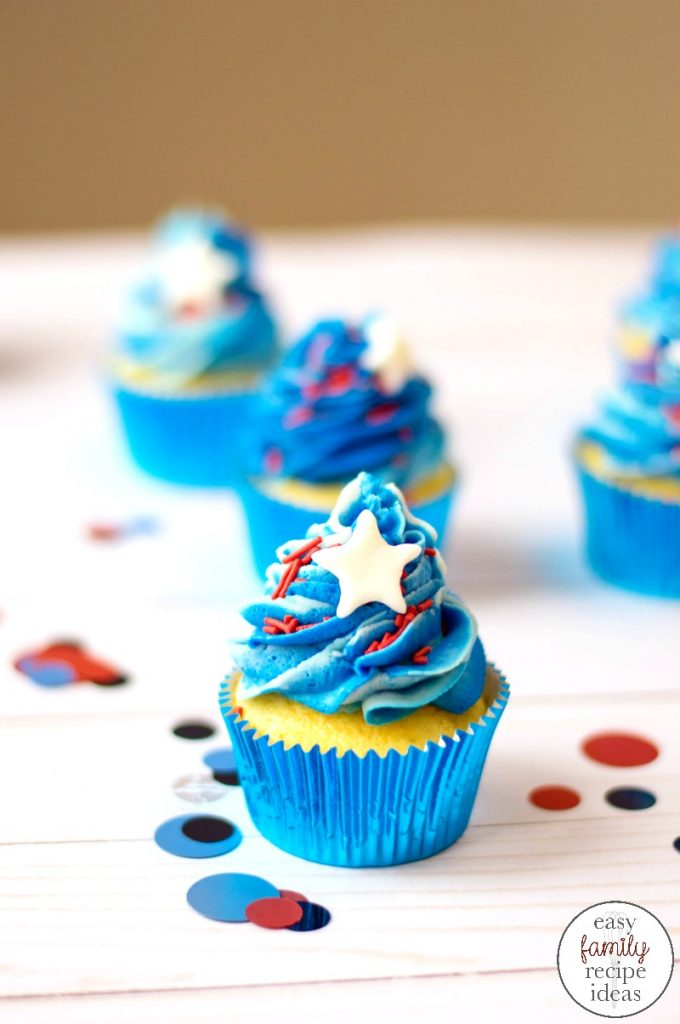 Show your patriotic spirit by making red, white, and blue cupcakes for the 4th of July. These Patriotic Cupcakes are easy to make! Easy Patriotic desserts for 4th of July, Memorial Day, Veteran's Day, or a fun summer dessert!