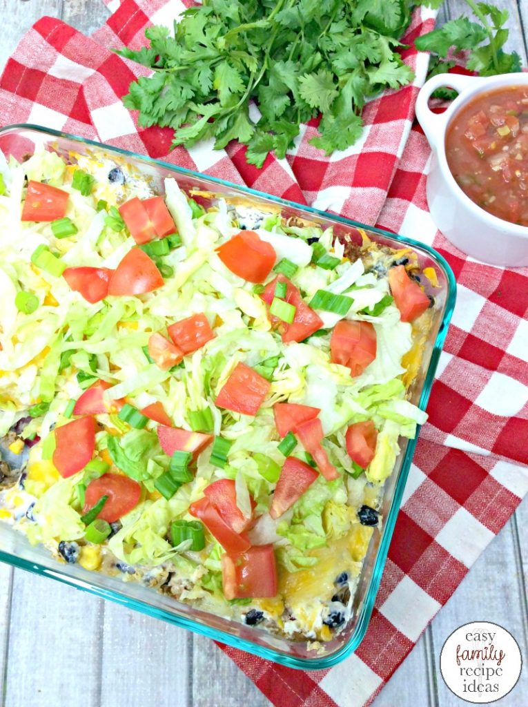 This Taco Casserole is easy to make and the whole family will love eating it. Weight Watchers Recipes and Easy Family Recipes for this Ground Turkey Mexican Recipe that's a quick and easy taco bake everyone will eat. The Best Taco Recipes are here!