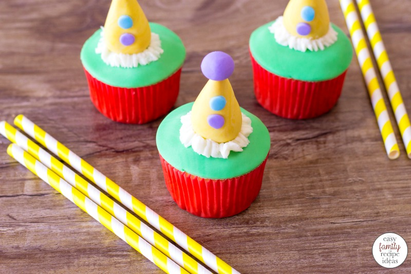 These Circus Cupcakes are so much fun to make! All you need are a few simple ingredients and a little bit of creativity and you'll have perfect Birthday Party Cupcakes or Make these tasty Clown Cupcakes for a baby shower they are full of color and cheer.