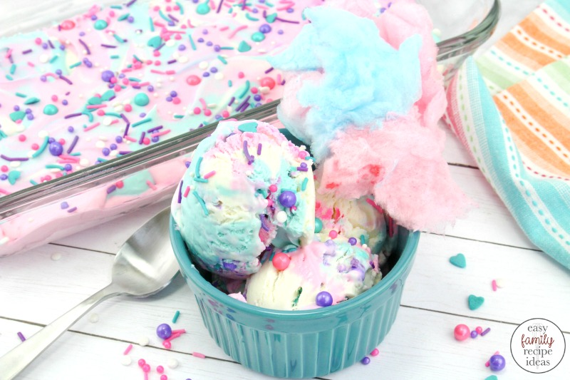 This Cotton Candy Ice Cream is so simple and easy to make. It's perfect for a Unicorn Party or Circus Themed Birthday Party idea. Plus, the bright colors and sprinkles make it super fun Homemade Ice Cream. Your kids are going to love this colorful cotton candy ice cream.