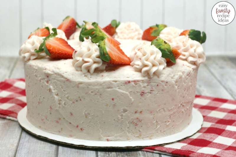 This strawberry cake is one that you're going to love and make over and over again! Make from scratch or a box mix and enjoy every single bite! This delicious Strawberry Cake recipe is so delicious and moist. It is the perfect Summer Dessert