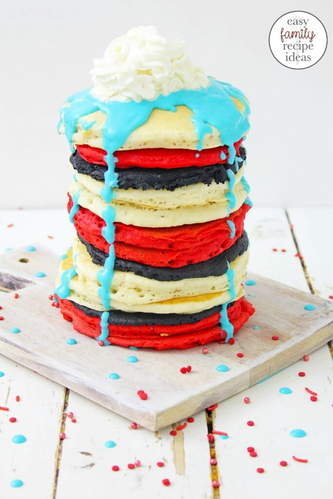 These Dr. Seuss Pancakes are AMAZING. Bright colors that remind you of your favorite Dr. Seuss Books. These Dr. Seuss Food Ideas are perfect for birthday party food idea or fun kid food. Bring on tasty Dr. Seuss Treats for Breakfast Please!