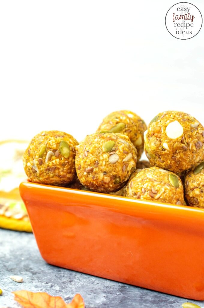 These Pumpkin Spice Energy Balls require no baking and are so simple to make! You'll love the taste and flavor of these healthy pumpkin treats! Kick off the official start of pumpkin season with these delicious pumpkin snacks that are easy to make energy balls.