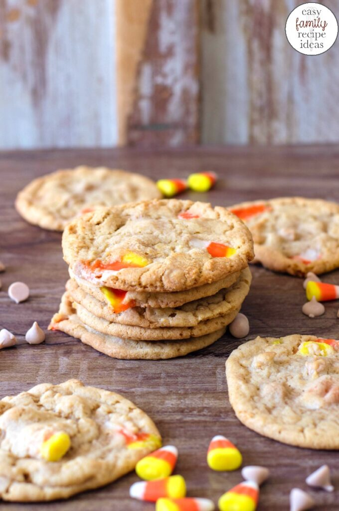 This is the time to make Delicious Peanut Butter Candy Corn Cookies. Simple and addictive Halloween Cookies you and your kids will want to eat every single one. Candy corn cookies recipe, The taste of the peanut butter cookies and candy corn are like a match made in taste bud heaven.