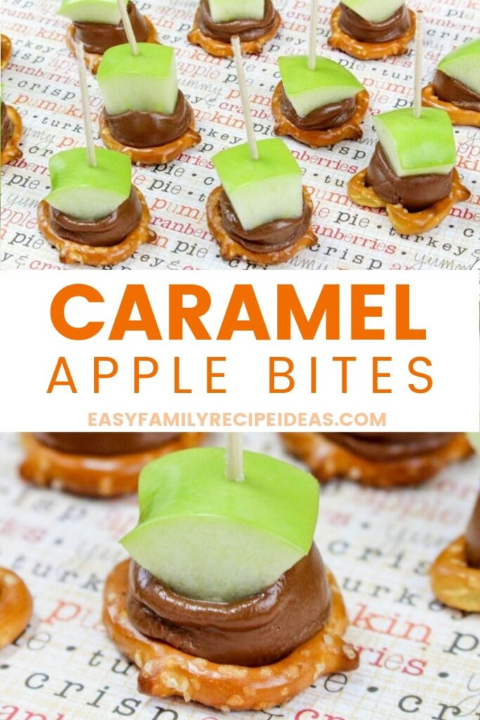 These caramel apple bites are unique and delicious. Not only do they have an awesome flavor to them, but they are also so simple to make! An easy fall treat that is sweet, salty, crunchy and delicious, These Caramel Apple Bites are the best! This caramel apple bite recipe is the perfect snack for kids and adults.