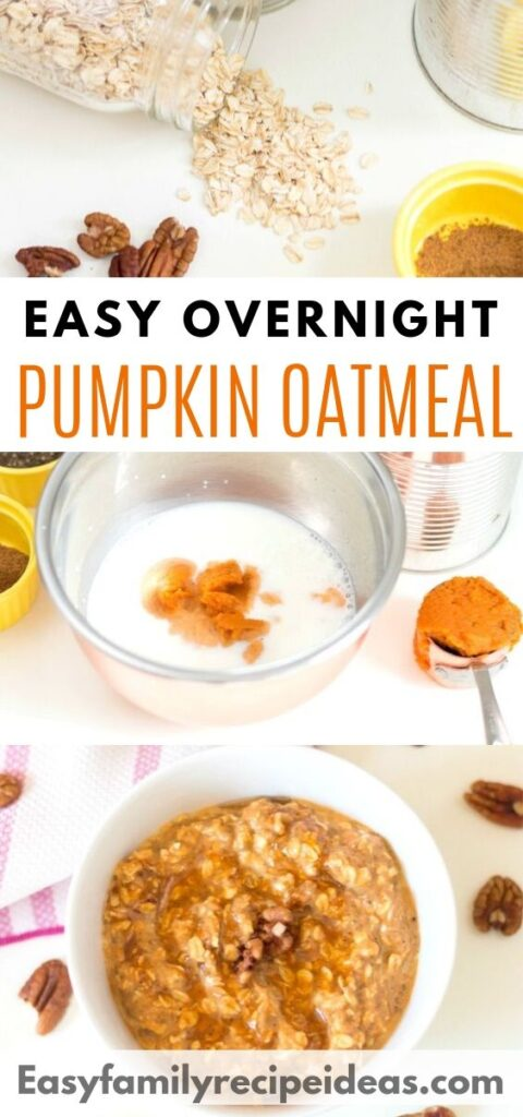 This Pumpkin Oatmeal Recipe is delicious and a great hearty breakfast. If you're looking for something easy and a perfect Fall Breakfast recipe you're going to love the taste of these Pumpkin Overnight Oats. Cinnamon pumpkin overnight oats, Pumpkin Pie Overnight Oats
