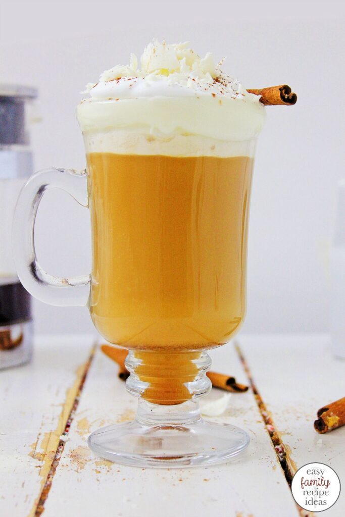 Don't miss out on this Tasty White Chocolate Pumpkin Spice Latte! It's so good, you'll want to make it all year long! The flavor of a pumpkin spice latte is so good and it's so easy to make. One sip of this Pumpkin Latte and you'll never want a regular Coffee again.