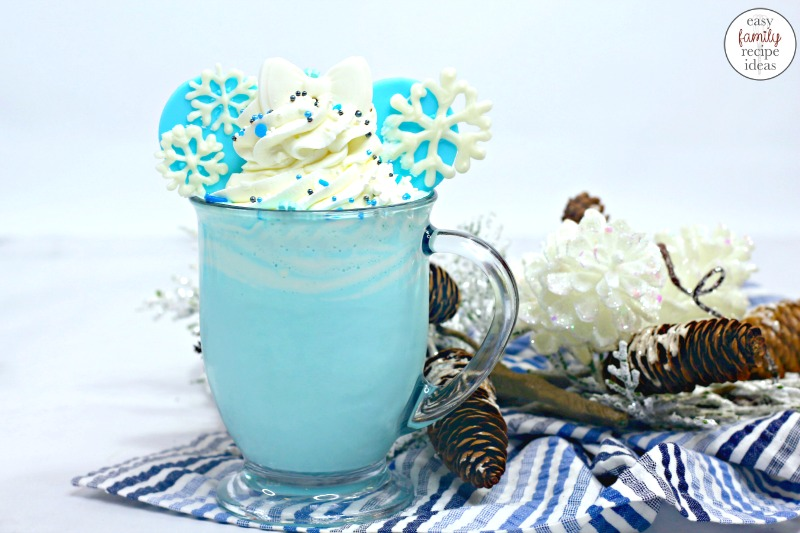 You're going to love the taste of this Frozen Themed Hot Chocolate. It's a delicious Disney Recipe and Perfect for a winter treat! Your kids will love drinking this Frozen White Hot Chocolate during a family movie night or Frozen themed birthday party. The Best Disney Frozen Recipes