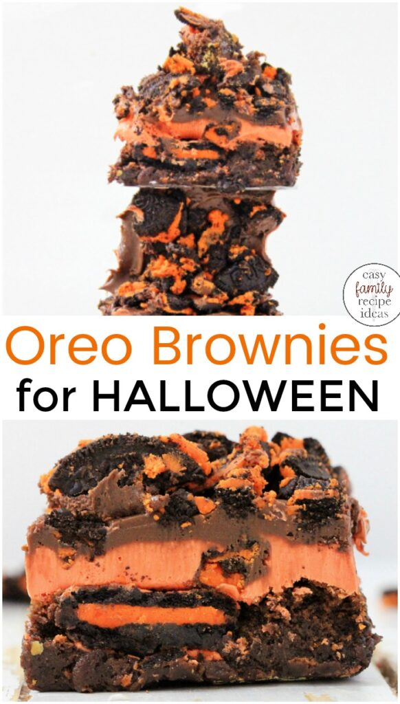 You Have to Make this Oreo Brownies Recipe for Halloween! It's packed full of chocolate Oreos and deliciousness! You'll be hooked after one bite of these Oreo brownies with frosting, This Oreo Brownie Recipe is easy to make and kids love it so it makes a great Halloween Snack Idea.