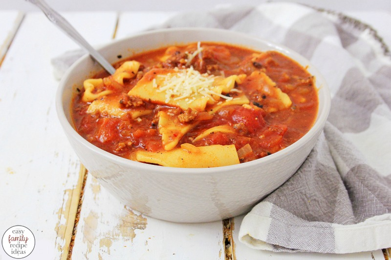 Don't miss out on this Easy Lasagna Soup recipe! It's so simple and filling and everyone in your family is going to love it. This Easy One-Pot Lasagna Soup is easy to make and the perfect winter dinner idea. Get ready for the perfect Easy Family Recipe with this Tasty Homemade Soup Recipe perfect for Winter.