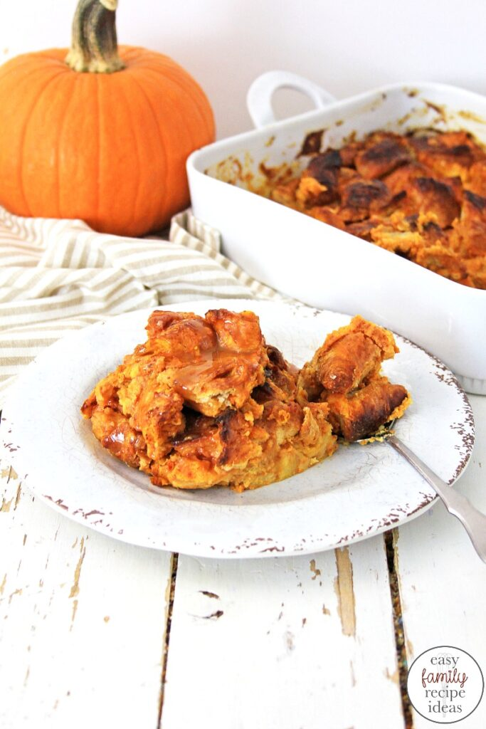 This Pumpkin Spice Croissant Bread Pudding is so good and simple to make! You can easily make this Croissant Bread Pudding for a delicious fall dessert or Thanksgiving breakfast idea, Pumpkin Croissant Bread Pudding is tasty all year long. Plus it makes a great Thanksgiving Dessert idea. Delicious!