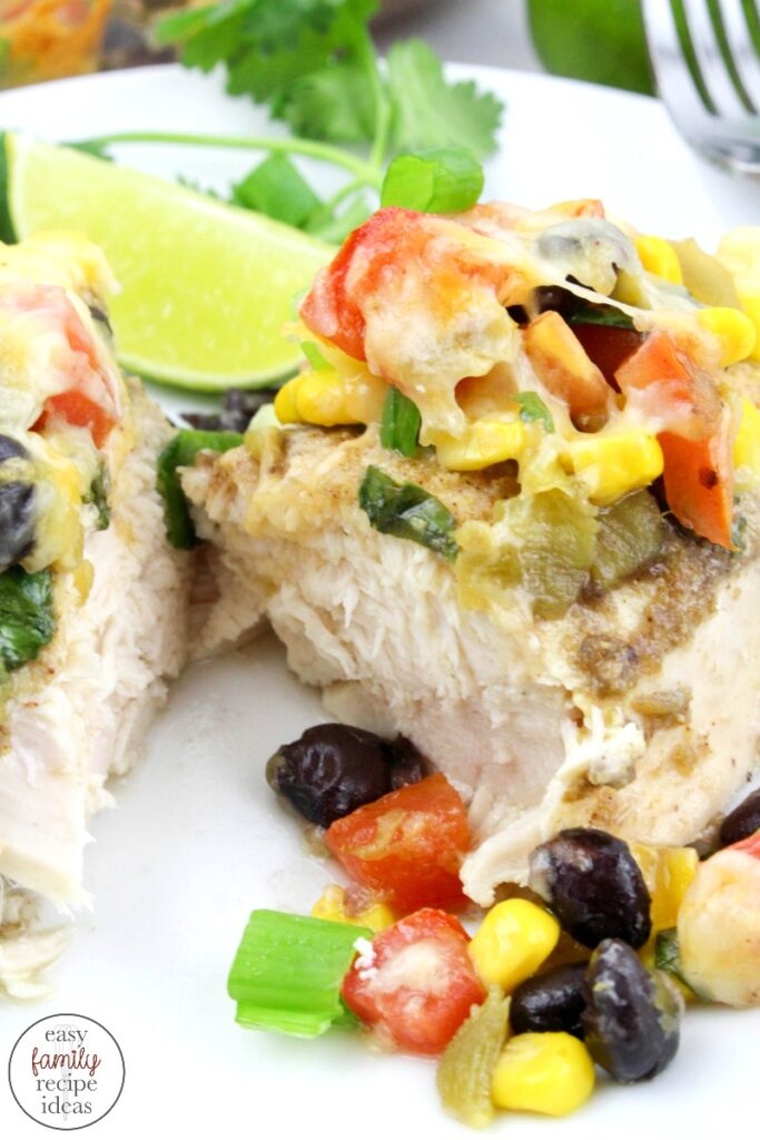 This Easy Southwest Chicken recipe is so simple and easy to make. It's perfect for a family dinner when the weeknights are packed full of activities. A Delicious Southwest Chicken Bake made in one dish. This hearty meal is full of great ingredients and lots of flavorful cheese! Make a Southwest Chicken Bowl Tonight!