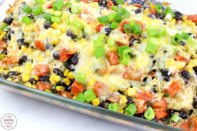 This Southwest Chicken recipe is so simple and easy to make. It's perfect for a family dinner when the weeknights are packed full of activities. A Delicious Southwest Chicken Bake made in one dish. This hearty meal is full of great ingredients and lots of flavorful cheese! Make a Southwest Chicken Bowl Tonight!