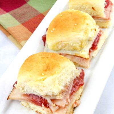 Easy Turkey Cranberry Sliders on Hawaiian rolls