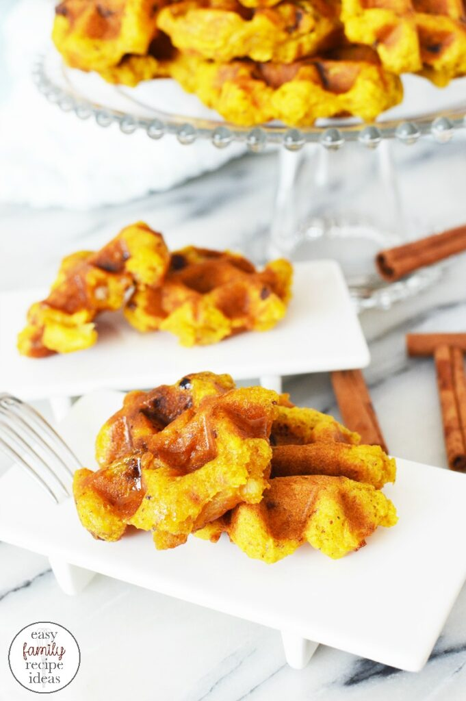 You're going to love the taste and flavor of these Pumpkin Apple Waffles. So good and so simple to make. You'll never want other waffles again! This Easy Pumpkin Waffles Recipe makes a great fall breakfast idea or easy family recipe for any Sunday Brunch.