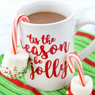 Candy Cane Marshmallow Hot Chocolate Dippers