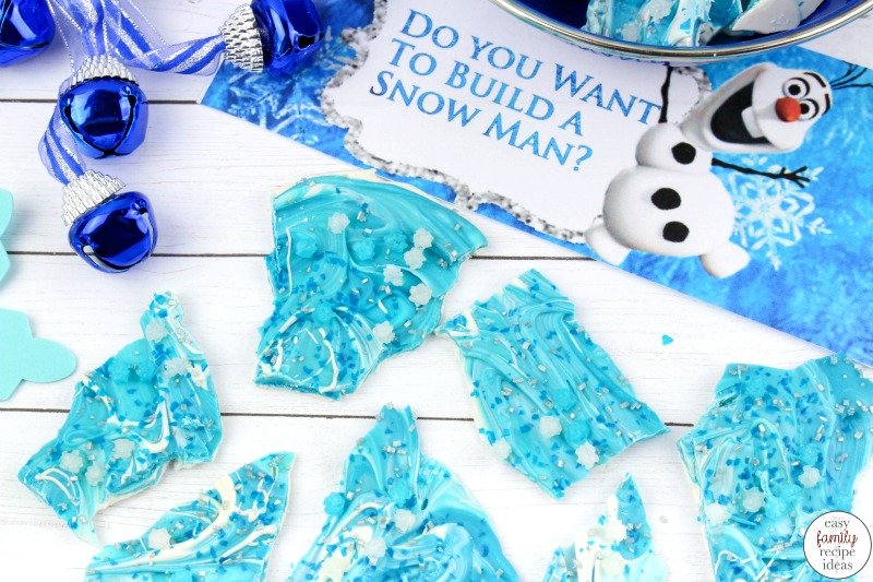Don't miss out on this easy to make Frozen Chocolate Bark Recipe! You're going to love the taste and ease of this Frozen Themed treat! Add this Disney Frozen Chocolate Bark to a themed birthday party, or Winter Party idea