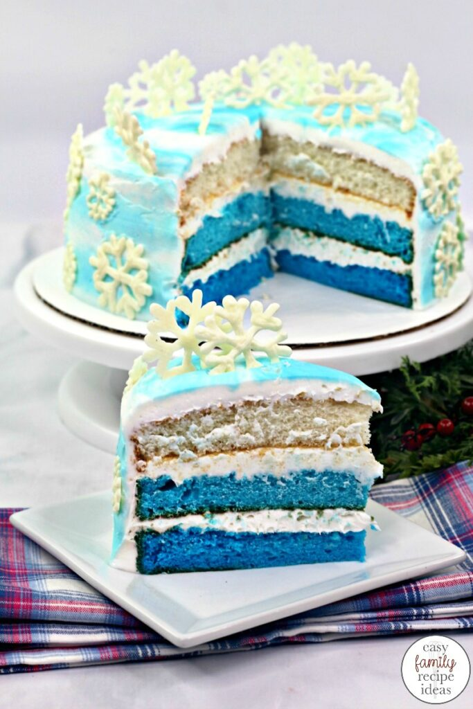 This Disney Frozen Cake is so much fun and a tasty treat to eat. A Frozen Layered Cake is a fun way to celebrate a birthday party or your love of the Frozen movie by eating a delicious homemade Winter Wonderland cake! The Best Easy Frozen Cake Ideas