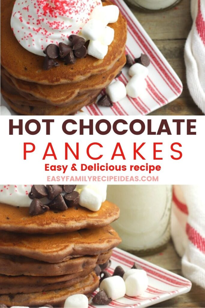 These Hot Chocolate Pancakes are a ton of fun and are so simple to make! All you need are a few easy ingredients, You'll love having these easy chocolate pancakes during the holiday months as a fun treat to start your day.