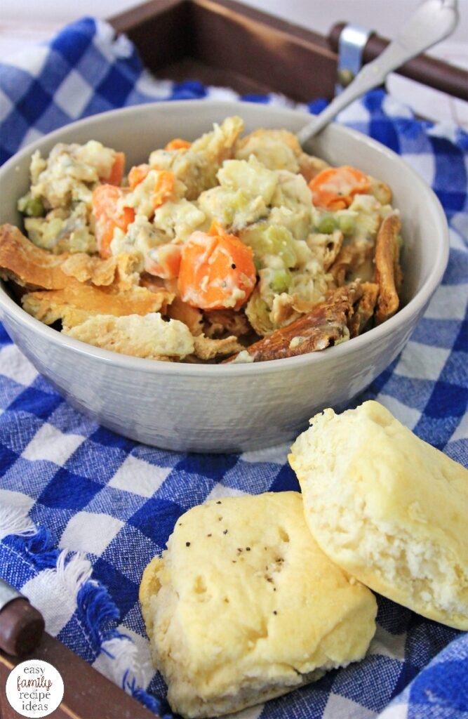 This Chicken Pot Pie Casserole is hearty and perfect for a cold, winter day! It's actually a super simple recipe to whip up as well! So much taste and flavor packed into one easy chicken recipe! Plus, kids love this Chicken Pot Pie too.