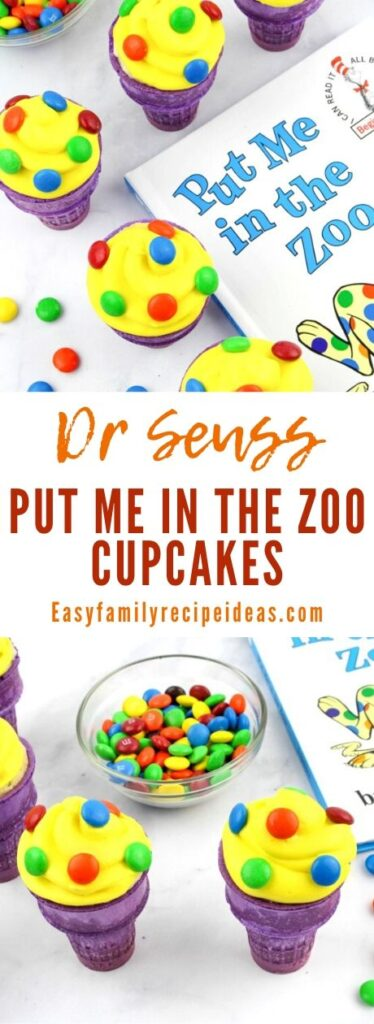 Kids love Dr Seuss Put Me In The Zoo Ice Cream Cone Cupcakes! Dr. Seuss Cupcakes are a fun Dr. Seuss food idea for a Dr Seuss Week or Dr Seuss Themed Food to add to your book activities or birthday party.