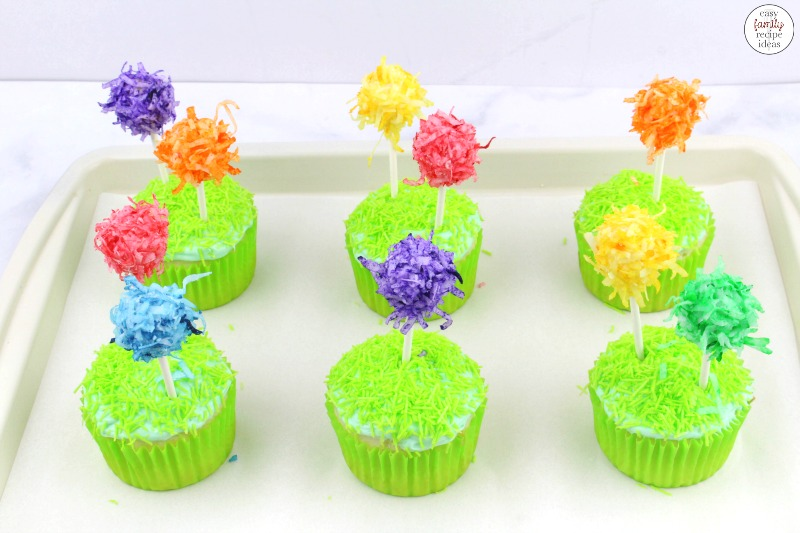 Have fun making these Truffula Tree Cupcakes! The Lorax Truffula Tree Cupcakes are tasty treats every child loves. And with Dr. Seuss day coming up on March 2nd these super cute Dr. Seuss cupcakes are perfect for any type of Dr. Seuss party food as well!