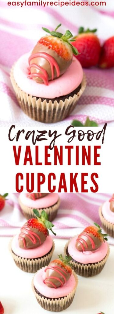 These Chocolate Covered Strawberry Cupcakes are perfect for Valentine's Day! You get delicious kicked up boxed cake mix Cupcakes with Valentines Day Chocolate Covered Strawberries with great flavor in every bite! Chocolate cupcake with strawberry inside you have to try. The Perfect Valentine's Day Cupcakes