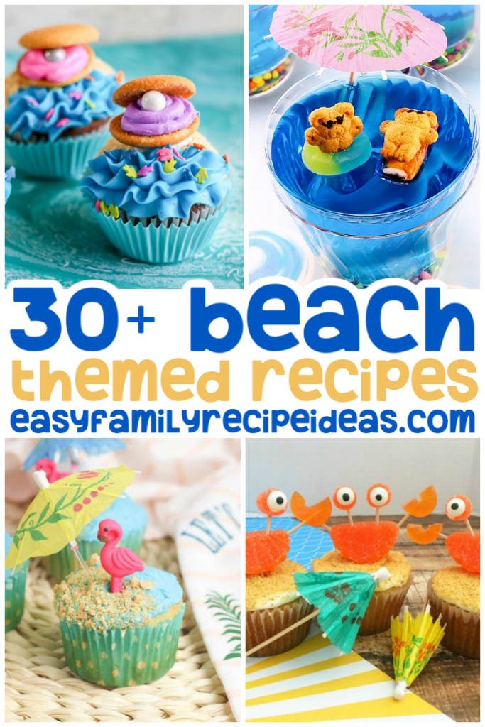 Make these Beach Themed Recipes with the kids to kick off summer or use them during an ocean theme week. So many ideas for cute beach cupcakes, Jello cups, cookies, and more. There's never a wrong time to enjoy a yummy Summer treat.