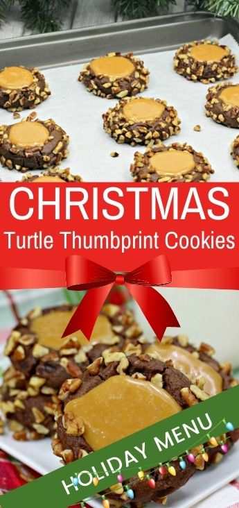 The Best Turtle Thumbprint Cookies, A delicious melt in your mouth Turtle Thumbprint chocolate cookie combining the flavors of pecans, caramel, and chocolate! Turtle Cookies that make the perfect cookie for the winter holidays or any Christmas Cookie Exchange. What could be better than chocolate and caramel in a little nutty bite? Caramel Pecan Turtle Cookies!