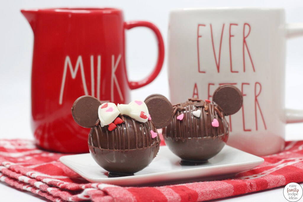 Valentine's Day Mickey Hot Chocolate Bombs, These are the Cutest Minnie and Mickey Hot Chocolate Bombs, so if you are a fan of Disney and want to enjoy a sweet treat, add delicious Disney hot chocolate bombs to your Valentine's Day.