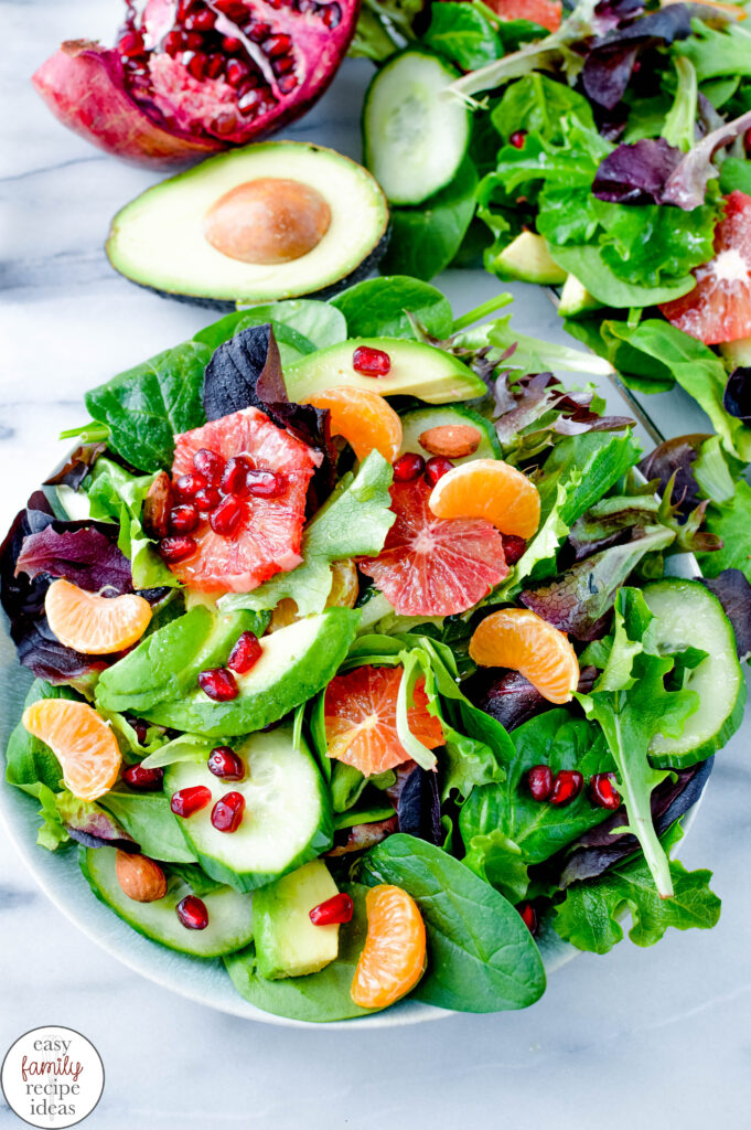 This Tasty Winter Citrus Salad is delicious all year round. A healthy Winter Salad uses fruits and vegetables and can be a complete meal or this Citrus Salad with Avocado can be the perfect side dish for the whole family. Winter Salad Recipe Ideas