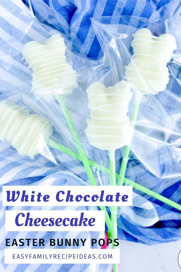 This Vegan Easter Bunny White Chocolate Cheesecake Pops Recipe is The Best! They'll make a gorgeous addition to your Easter baskets or for a Spring Treat. Easter bunny cheesecake on a stick makes a fun kid-friendly dessert. Plus, they're delicious!  White chocolate cheesecake Easter bunnies and Homemade Easter Bunny Lollipops for a healthy sweet treat.