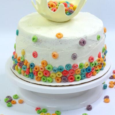 Easy Froot Loops Cake with a Milk Splash Top